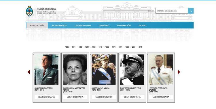 La nueva página web de la Casa Rosada incluyó a los dictadores en la Galería de Presidentes | El Diario 24