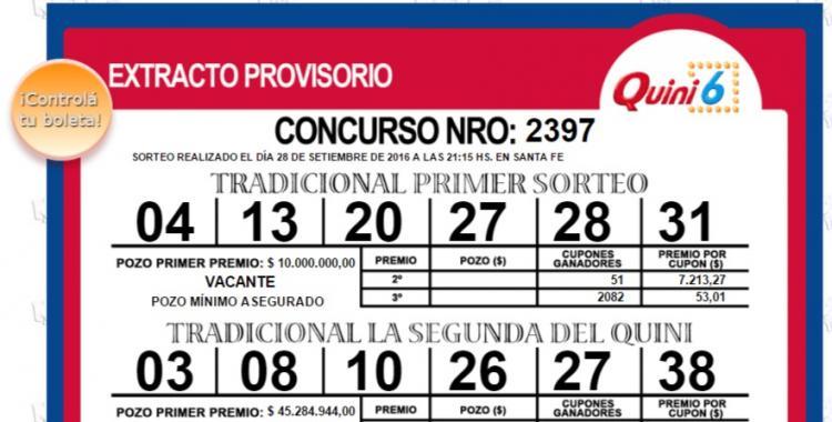Resultados del Quini 6 del Miércoles 28 de Septiembre de 2016   El Diario 24