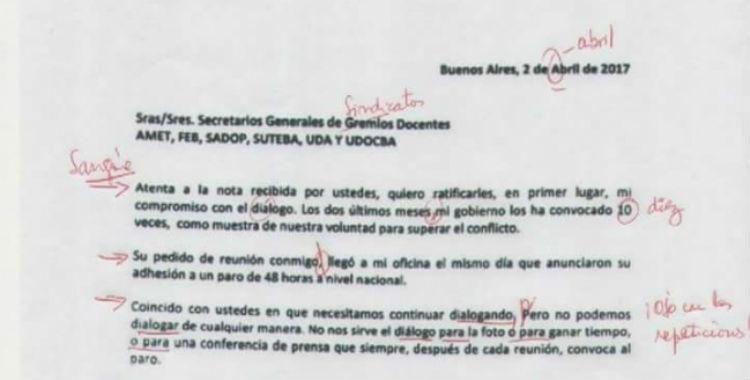 La carta en la que Vidal condiciona el encuentro con los docentes se viralizó corregida  | El Diario 24