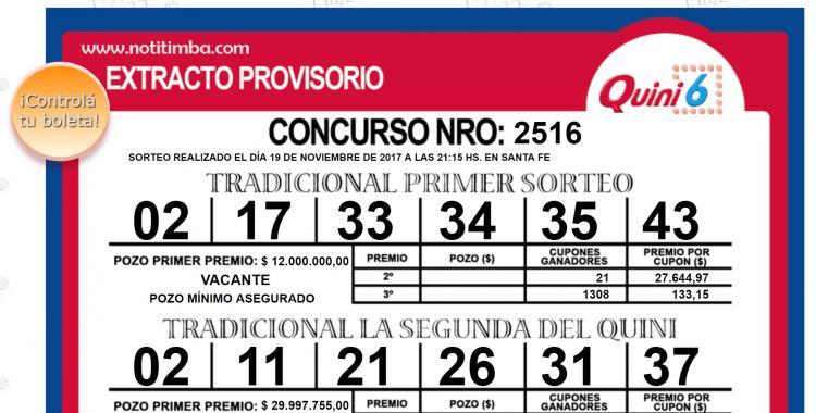 Resultados del Quini 6 del Domingo 19 de Noviembre de 2017   El Diario 24