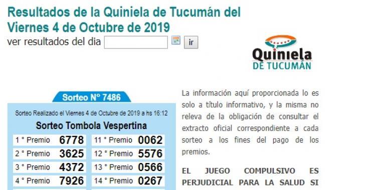 Resultados de la Quiniela de Tucumán del viernes 4 de Octubre de 2019   El Diario 24
