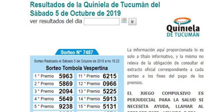 Resultados de la Quiniela de Tucumán del sábado 5 de Octubre de 2019 | El Diario 24