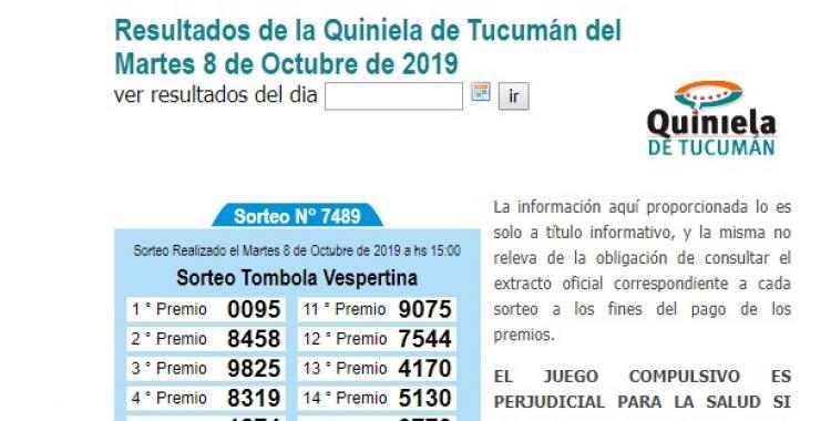 Resultados de la Quiniela de Tucumán del Martes 8 de Octubre de 2019 | El Diario 24