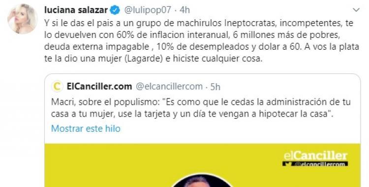 Luciana Salazar cruzó muy fuerte a Macri por su comentario misógino   El Diario 24