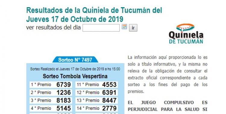 Resultados de la Quiniela de Tucumán del Jueves 17 de Octubre de 2019 | El Diario 24