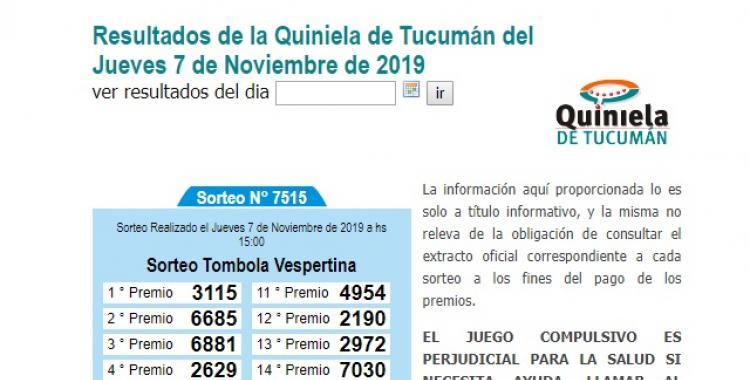 Resultados de la Quiniela de Tucumán del jueves 7 de Noviembre de 2019   El Diario 24