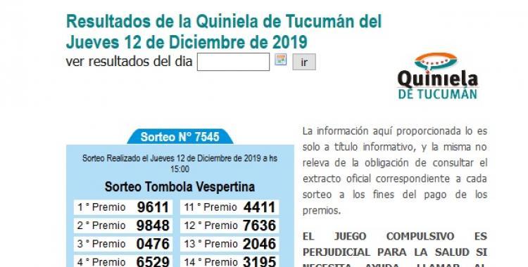 Resultados de la Quiniela de Tucumán del Jueves 12 de Diciembre de 2019 | El Diario 24