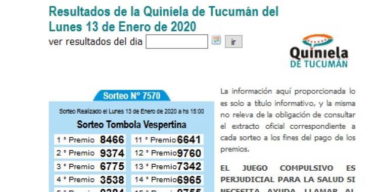 Resultados de la Quiniela de Tucumán del Lunes 13 de Enero de 2020 | El Diario 24