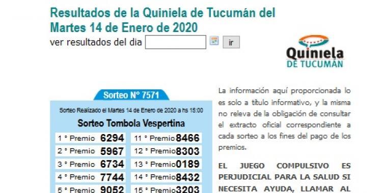Resultados de la Quiniela de Tucumán del Martes 14 de Enero de 2020   El Diario 24
