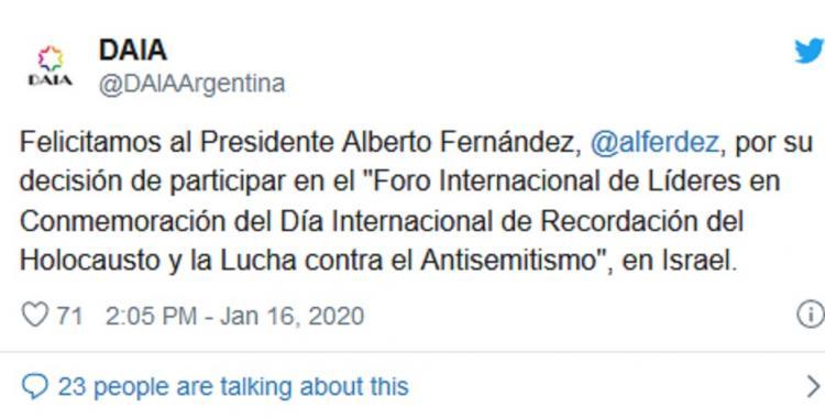 Satisfacción de la DAIA porque Alberto Fernández realiza su primer viaje oficial a Israel | El Diario 24