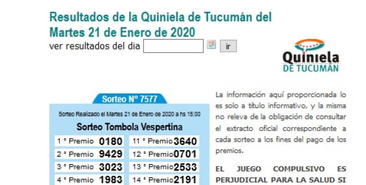 Resultados de la Quiniela de Tucumán del Martes 21 de Enero de 2020 | El Diario 24