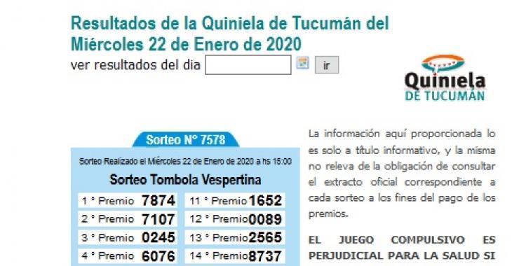 Resultados de la Quiniela de Tucumán del Miércoles 22 de Enero de 2020 | El Diario 24