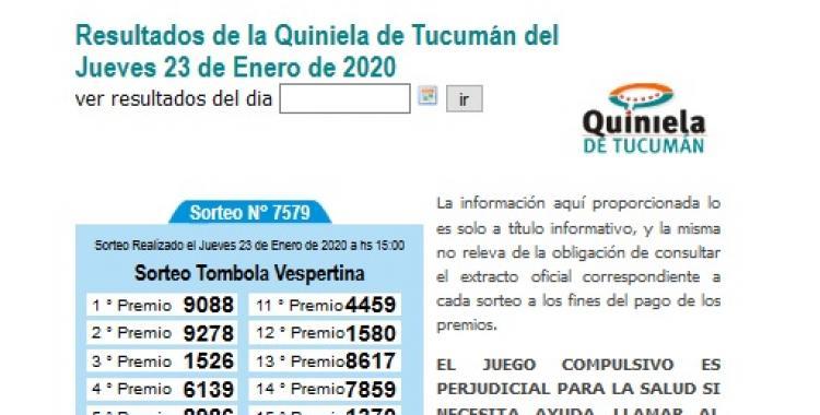 Resultados de la Quiniela de Tucumán del Jueves 23 de Enero de 2020 | El Diario 24