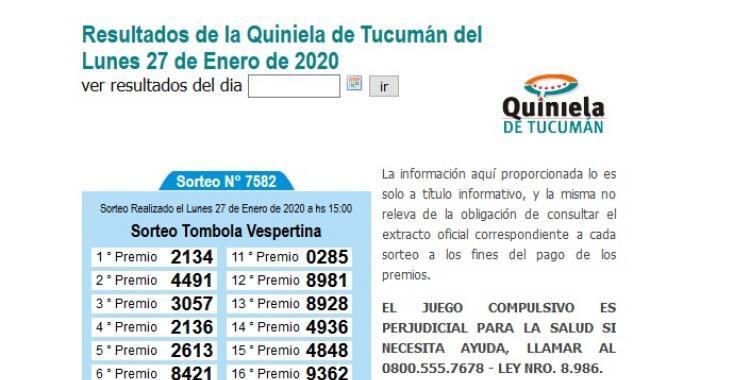 Resultados de la Quiniela de Tucumán Vespertina del Lunes 27 de Enero de 2020 | El Diario 24