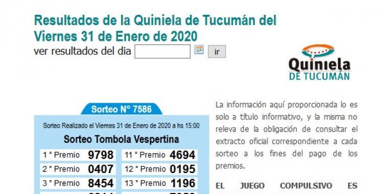 Resultados de la Tómbola Vespertina de Tucumán del Viernes 31 de Enero de 2020   El Diario 24