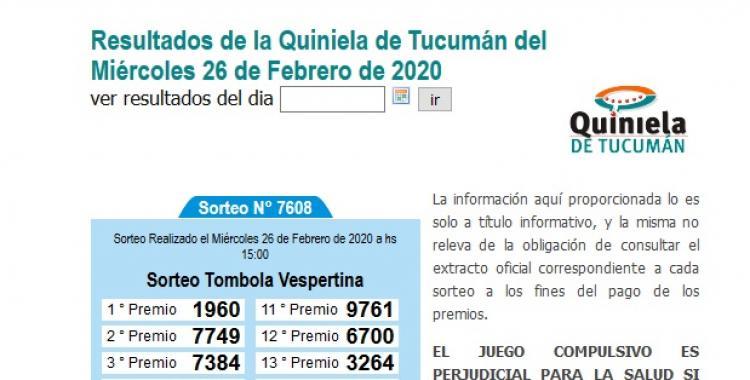 Resultados de la Quiniela de Tucumán Tómbola Vespertina del Miércoles 26 de Febrero de 2020 | El Diario 24