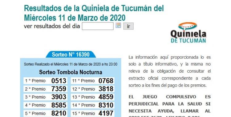 Resultados de la Quiniela de Tucumán Tómbola Nocturna del Miércoles 11 de Marzo de 2020 | El Diario 24