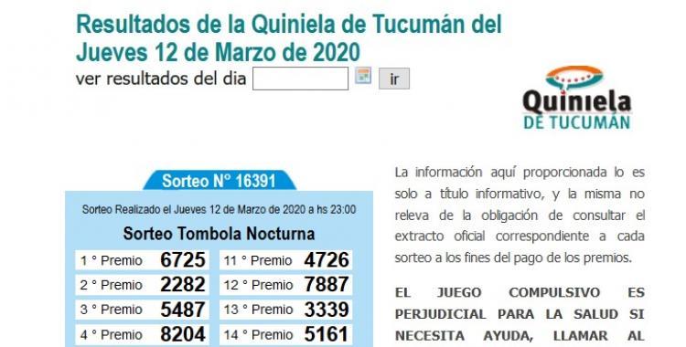 Resultados de la Quiniela de Tucumán Tómbola Nocturna del Jueves 12 de Marzo de 2020 | El Diario 24