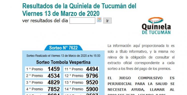 Resultados de la Quiniela de Tucumán Tómbola Vesperina del Viernes 13 de Marzo de 2020 | El Diario 24