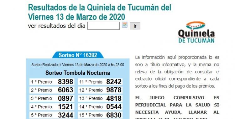 Resultados de la Quiniela de Tucumán Tómbola Nocturna del Viernes 13 de Marzo de 2020 | El Diario 24