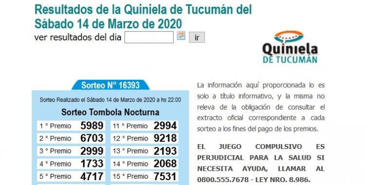 Resultados de la Quiniela de Tucumán Tómbola Nocturna del Sábado 14 de Marzo de 2020 | El Diario 24
