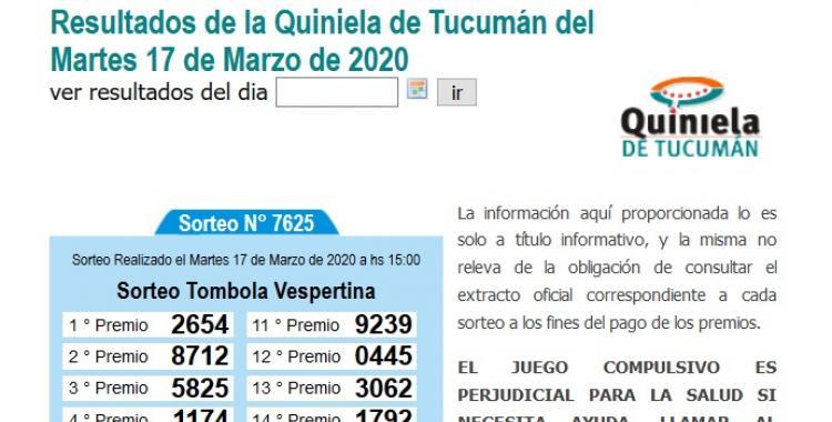 Resultados de la Quiniela de Tucumán Tómbola Vespertina del Martes 17 de Marzo de 2020 | El Diario 24
