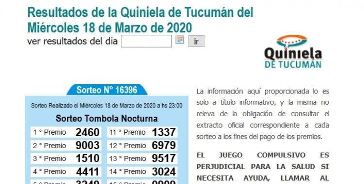 Resultados de la Quiniela de Tucumán Tómbola Nocturna del Miércoles 18 de Marzo de 2020 | El Diario 24