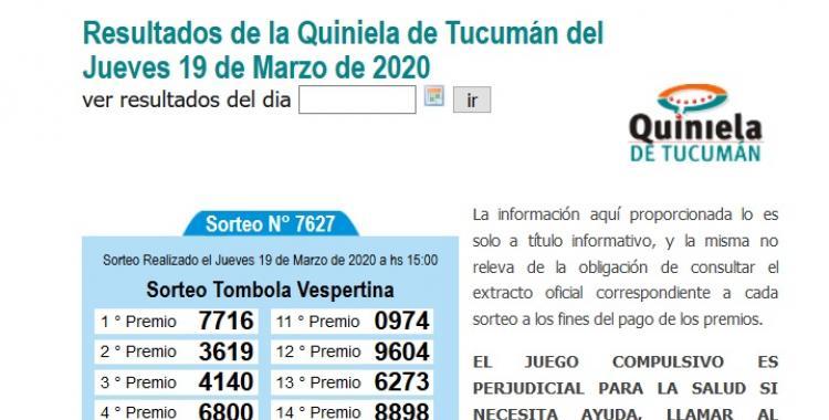 Resultados de la Quiniela de Tucumán Tómbola Vespertina del Jueves 19 de Marzo de 2020 | El Diario 24