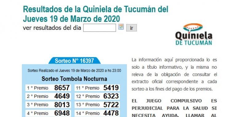 Resultados de la Quiniela de Tucumán Tómbola Nocturna del Jueves 19 de Marzo de 2020 | El Diario 24