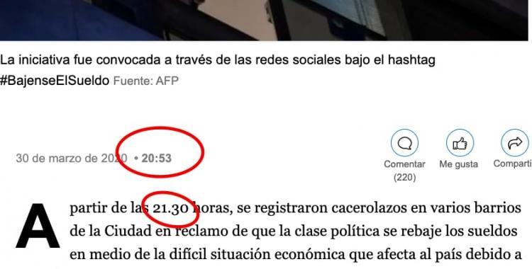 El diario La Nación publicó la noticia de un hecho que sucedió 40 minutos después | El Diario 24