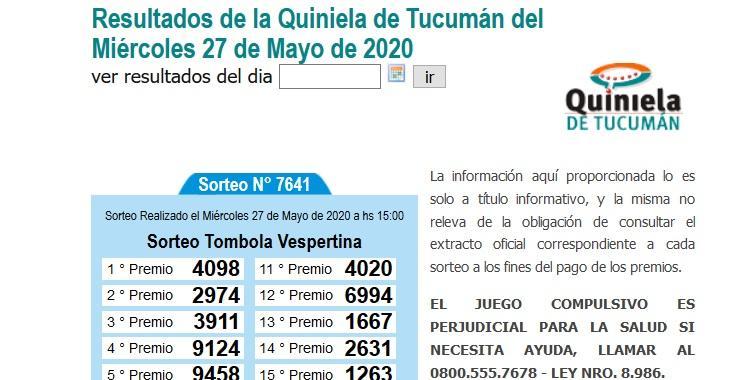 Resultados de la Quiniela de Tucumán Tómbola Vespertina del Miércoles 27 de Mayo de 2020   El Diario 24