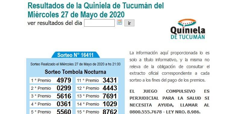 Resultados de la Quiniela de Tucumán Tómbola Nocturna del Miércoles 27 de Mayo de 2020 | El Diario 24