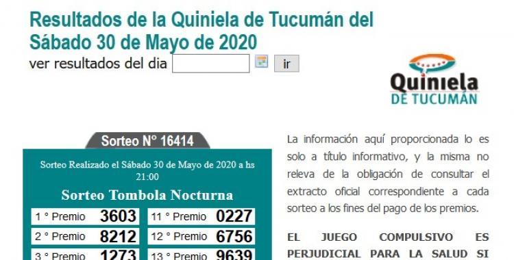 Resultados de la Quiniela de Tucumán Tómbola Nocturna del Sábado 30 de Mayo de 2020   El Diario 24