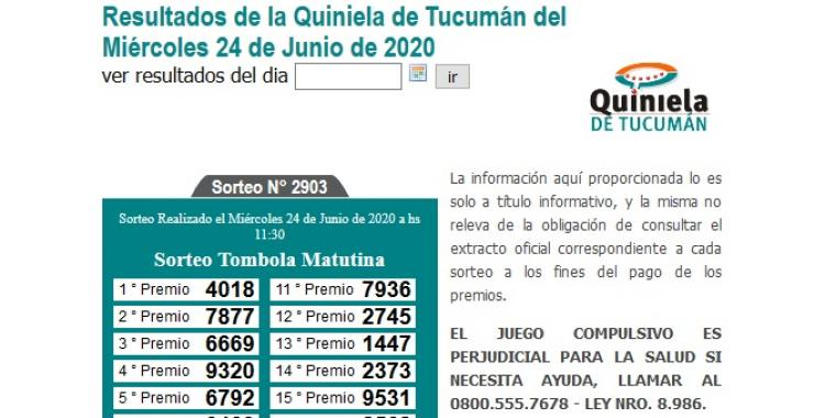 Resultados de la Quiniela de Tucumán Tómbola Matutina del Miércoles 24 de Junio de 2020 | El Diario 24