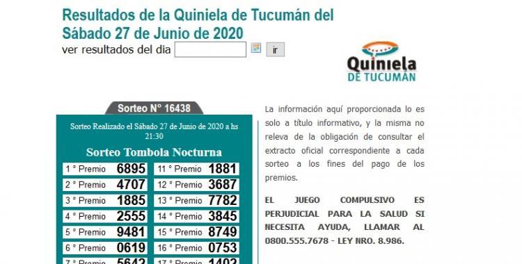 Resultados de la Quiniela de Tucumán Tómbola Nocturna del Sábado 27 de Junio de 2020 | El Diario 24