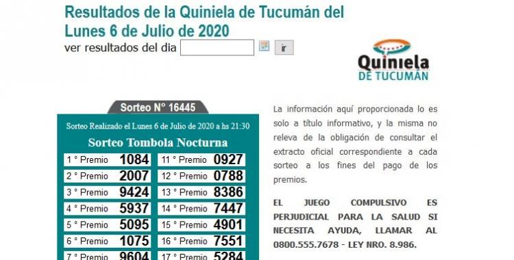 Resultados de la Quiniela de Tucumán Tómbola Nocturna del Lunes 6 de Julio de 2020 | El Diario 24