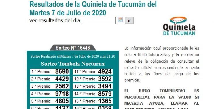 Resultados de la Quiniela de Tucumán Tómbola Nocturna del Martes 7 de Julio de 2020 | El Diario 24