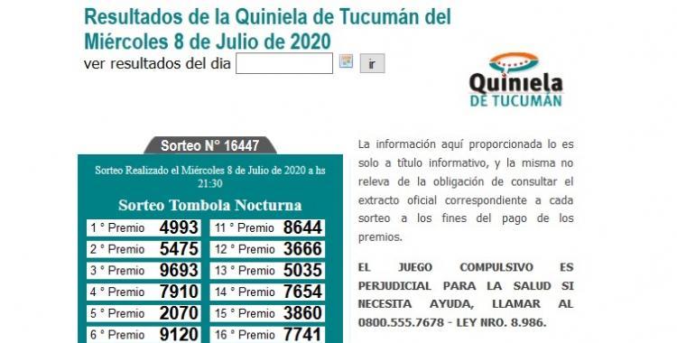 Resultados de la Quiniela de Tucumán Tómbola Nocturna del Miércoles 8 de Julio de 2020 | El Diario 24