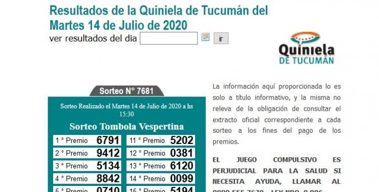 Resultados de la Quiniela de Tucumán Tómbola Vespertina del Martes 14 de Julio de 2020   El Diario 24