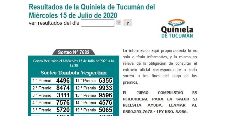 Resultados de la Quiniela de Tucumán Tómbola Vespertina del Miércoles 15 de Julio de 2020   El Diario 24