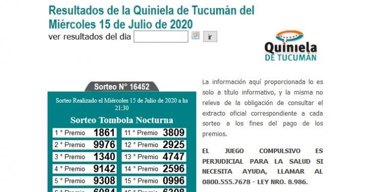 Resultados de la Quiniela de Tucumán Tómbola Nocturna del Miércoles 15 de Julio de 2020 | El Diario 24