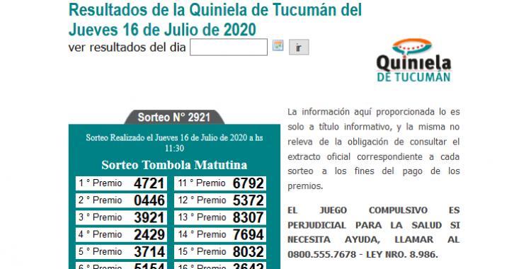 Resultados de la Quiniela de Tucumán Tómbola Matutina del Jueves 16 de Julio de 2020 | El Diario 24