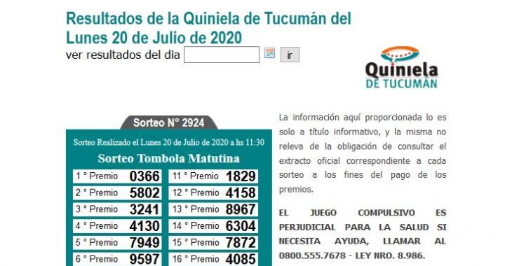 Resultados de la Quiniela de Tucumán Tómbola Matutina del Lunes 20 de Julio de 2020 | El Diario 24