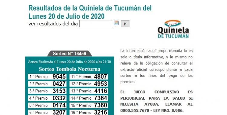 Resultados de la Quiniela de Tucumán Tómbola Nocturna del Lunes 20 de Julio de 2020 | El Diario 24