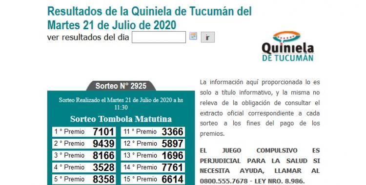 Resultados de la Quiniela de Tucumán Tómbola Matutina del Martes 21 de Julio de 2020   El Diario 24
