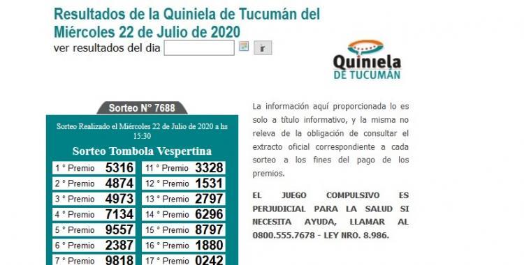 Resultados de la Quiniela de Tucumán Tómbola Vespertina del Miércoles 22 de Julio de 2020 | El Diario 24