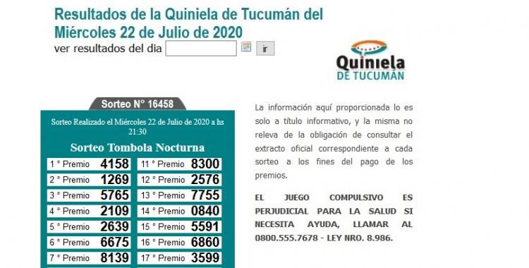 Resultados de la Quiniela de Tucumán Tómbola Nocturna del Miércoles 22 de Julio de 2020   El Diario 24