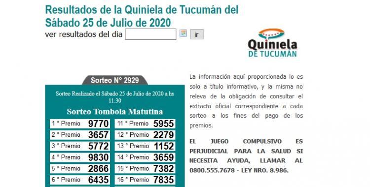 Resultados de la Quiniela de Tucumán Tómbola Matutina del Sábado 25 de Julio de 2020 | El Diario 24