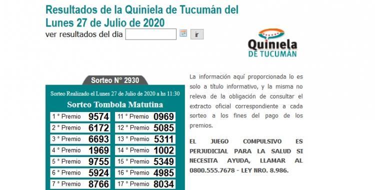 Resultados de la Quiniela de Tucumán: Tómbola Matutina del Lunes 27 de Julio de 2020 | El Diario 24