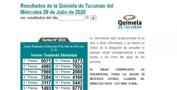 Resultados de la Quiniela de Tucumán: Tómbola Matutina del Miércoles 29 de Julio de 2020 | El Diario 24